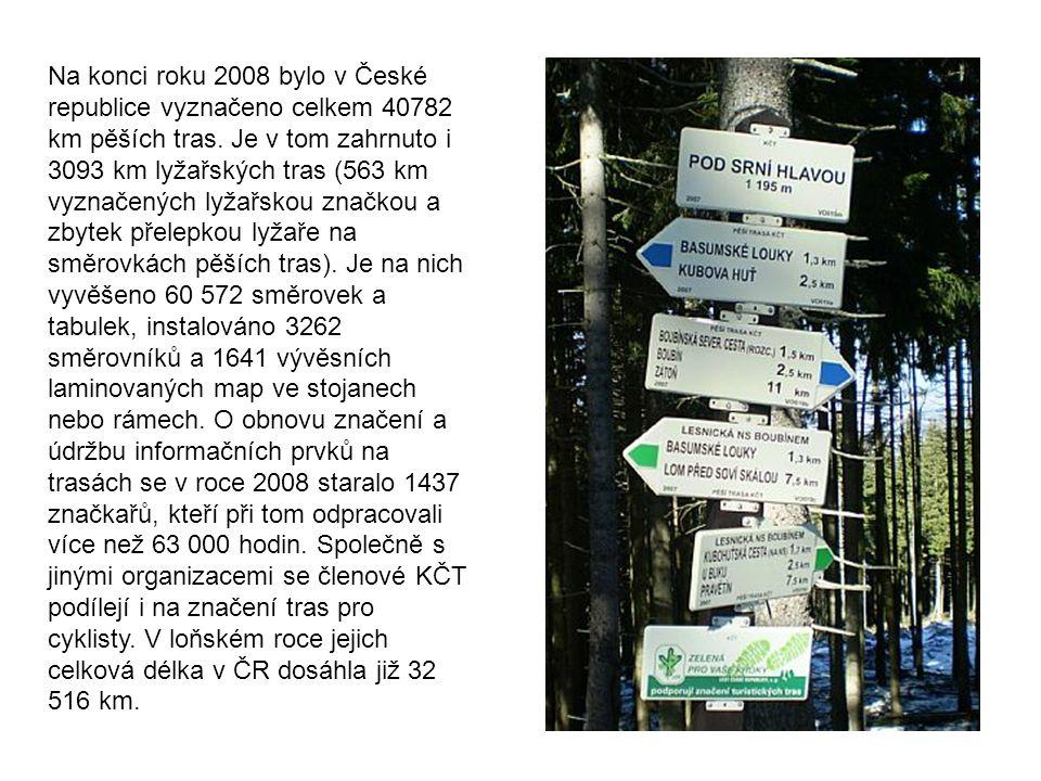 Na konci roku 2008 bylo v České republice vyznačeno celkem 40782 km pěších tras. Je v tom zahrnuto i 3093 km lyžařských tras (563 km vyznačených lyžař