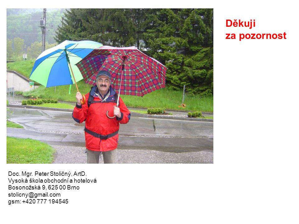Doc. Mgr. Peter Stoličný, ArtD. Vysoká škola obchodní a hotelová Bosonožská 9, 625 00 Brno stolicny@gmail.com gsm: +420 777 194545 Děkuji za pozornost