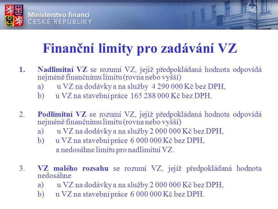 Finanční limity pro zadávání VZ 1.Nadlimitní VZ se rozumí VZ, jejíž předpokládaná hodnota odpovídá nejméně finančnímu limitu (rovna nebo vyšší) a) u VZ na dodávky a na služby 4 290 000 Kč bez DPH, b) u VZ na stavební práce165 288 000 Kč bez DPH.