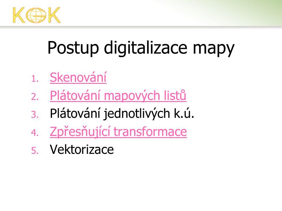 Postup digitalizace mapy 1. Skenování Skenování 2. Plátování mapových listů Plátování mapových listů 3. Plátování jednotlivých k.ú. 4. Zpřesňující tra