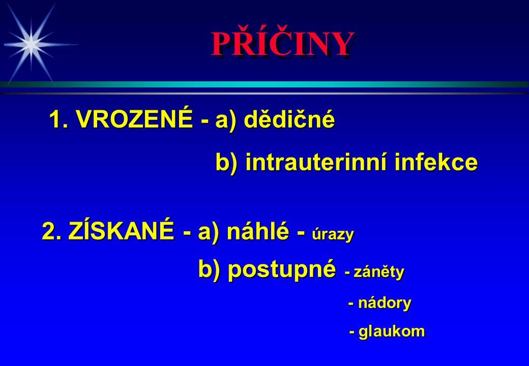 PŘÍČINY 1. VROZENÉ - a) dědičné 1. VROZENÉ - a) dědičné b) intrauterinní infekce b) intrauterinní infekce 2. ZÍSKANÉ - a) náhlé - úrazy b) postupné -