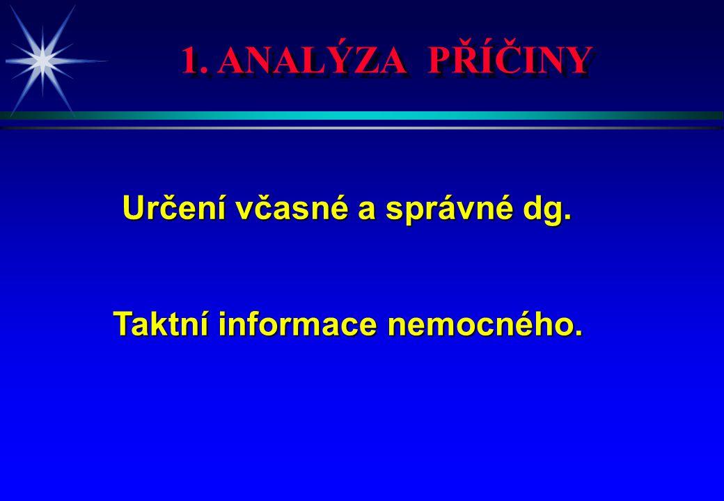 1. ANALÝZA PŘÍČINY Určení včasné a správné dg. Určení včasné a správné dg. Taktní informace nemocného.