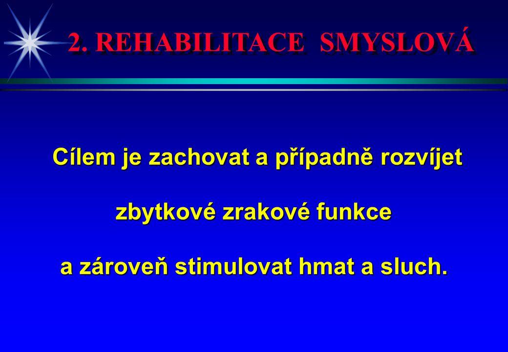 2. REHABILITACE SMYSLOVÁ Cílem je zachovat a případně rozvíjet Cílem je zachovat a případně rozvíjet zbytkové zrakové funkce a zároveň stimulovat hmat