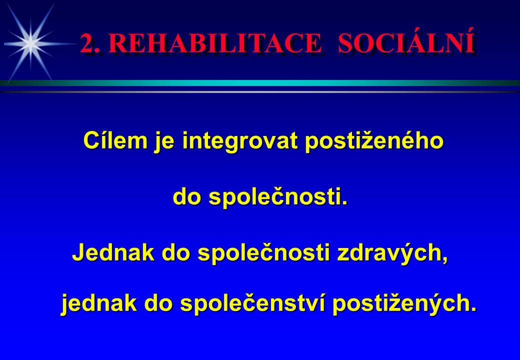 2. REHABILITACE SOCIÁLNÍ Cílem je integrovat postiženého Cílem je integrovat postiženého do společnosti. Jednak do společnosti zdravých, jednak do spo