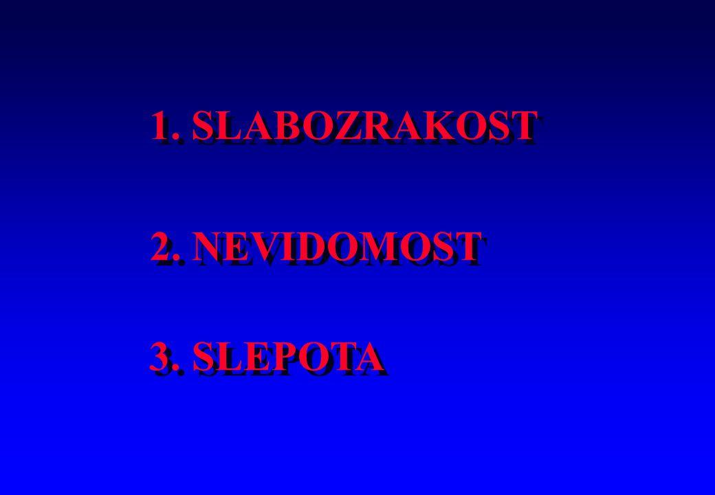 1. SLABOZRAKOST 2. NEVIDOMOST 3. SLEPOTA