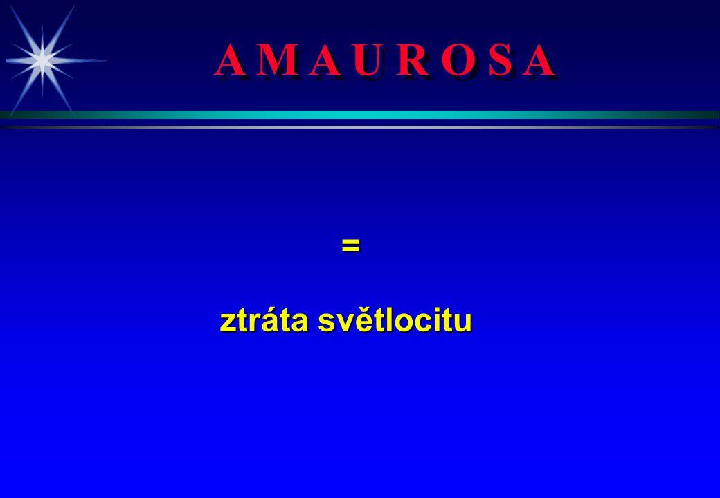 A M A U R O S A = ztráta světlocitu