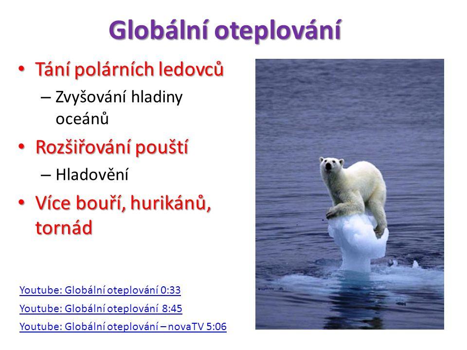 Globální oteplování • Tání polárních ledovců – Zvyšování hladiny oceánů • Rozšiřování pouští – Hladovění • Více bouří, hurikánů, tornád Youtube: Globální oteplování 8:45 Youtube: Globální oteplování – novaTV 5:06 Youtube: Globální oteplování 0:33