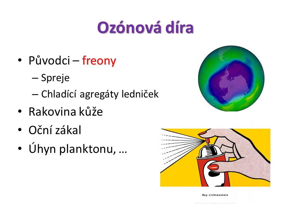 Ozónová díra freony • Původci – freony – Spreje – Chladící agregáty ledniček • Rakovina kůže • Oční zákal • Úhyn planktonu, …