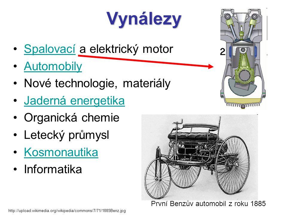 Vynálezy •Spalovací a elektrický motorSpalovací •AutomobilyAutomobily •Nové technologie, materiály •Jaderná energetikaJaderná energetika •Organická ch