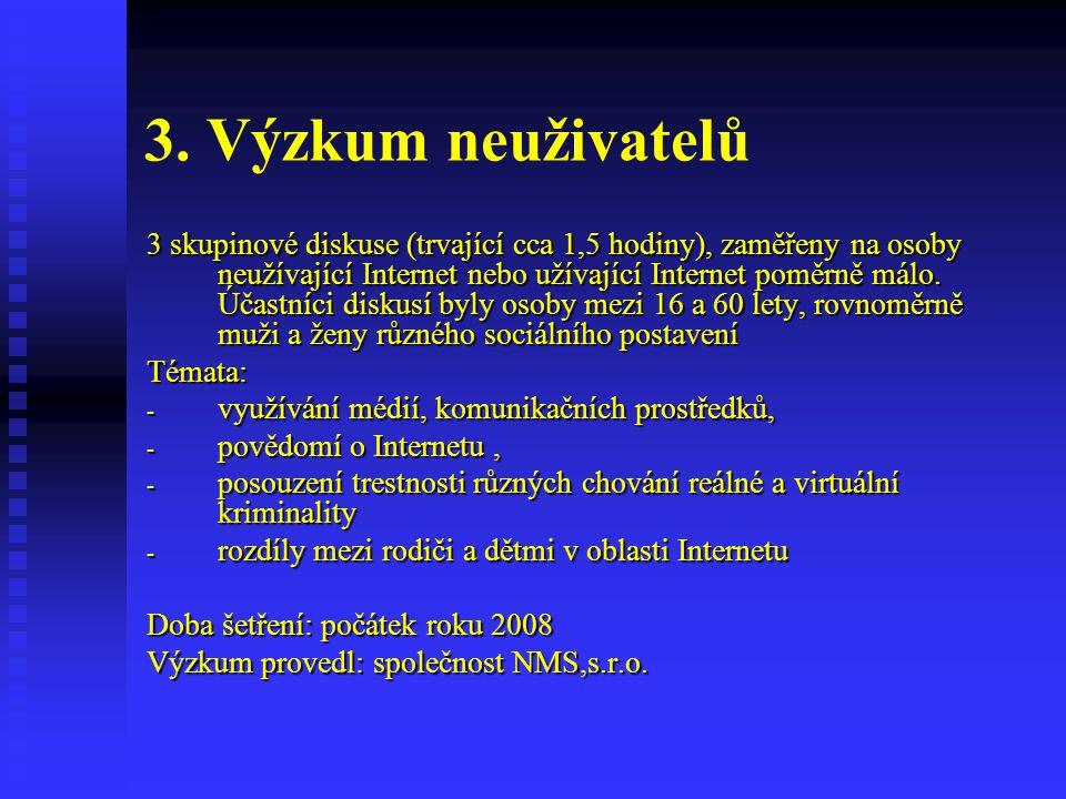 3. Výzkum neuživatelů 3 skupinové diskuse (trvající cca 1,5 hodiny), zaměřeny na osoby neužívající Internet nebo užívající Internet poměrně málo. Účas