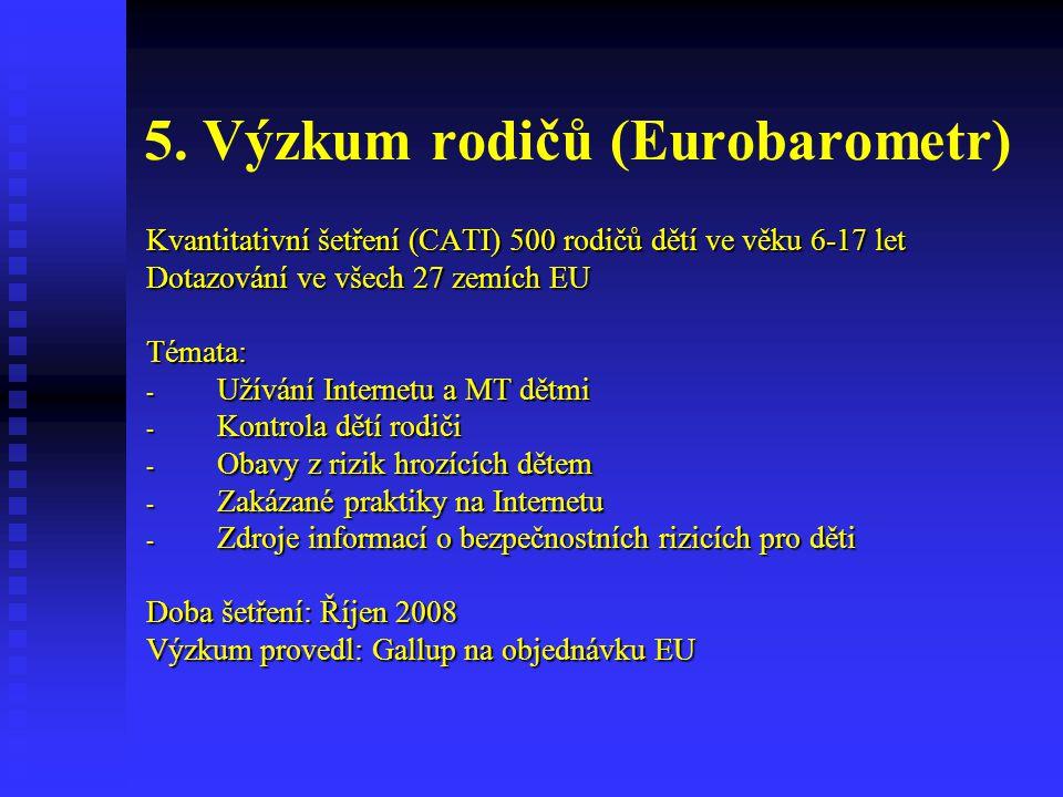 5. Výzkum rodičů (Eurobarometr) Kvantitativní šetření (CATI) 500 rodičů dětí ve věku 6-17 let Dotazování ve všech 27 zemích EU Témata: - Užívání Inter