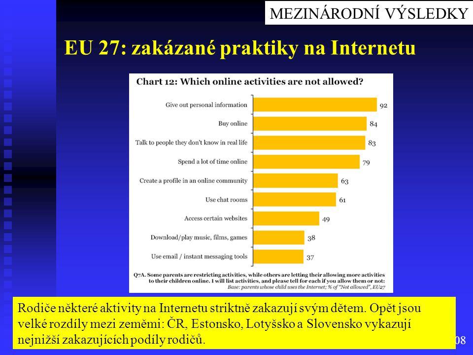 Source: Eurobarometr 2008 EU 27: zakázané praktiky na Internetu Rodiče některé aktivity na Internetu striktně zakazují svým dětem. Opět jsou velké roz