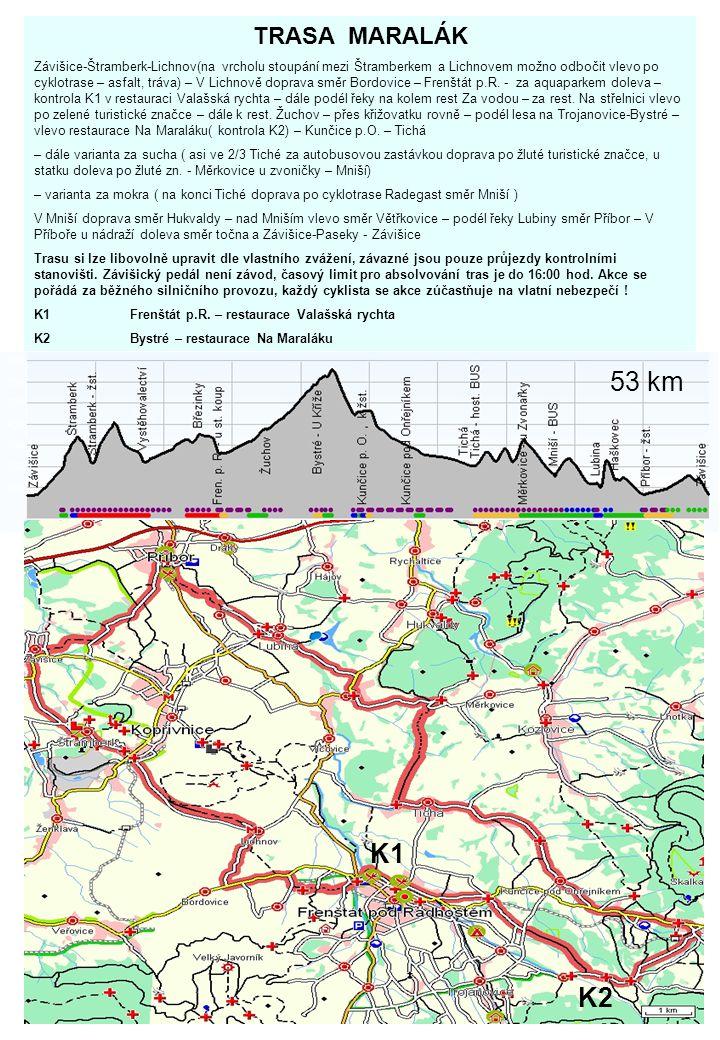 TRASA MARALÁK Závišice-Štramberk-Lichnov(na vrcholu stoupání mezi Štramberkem a Lichnovem možno odbočit vlevo po cyklotrase – asfalt, tráva) – V Lichn