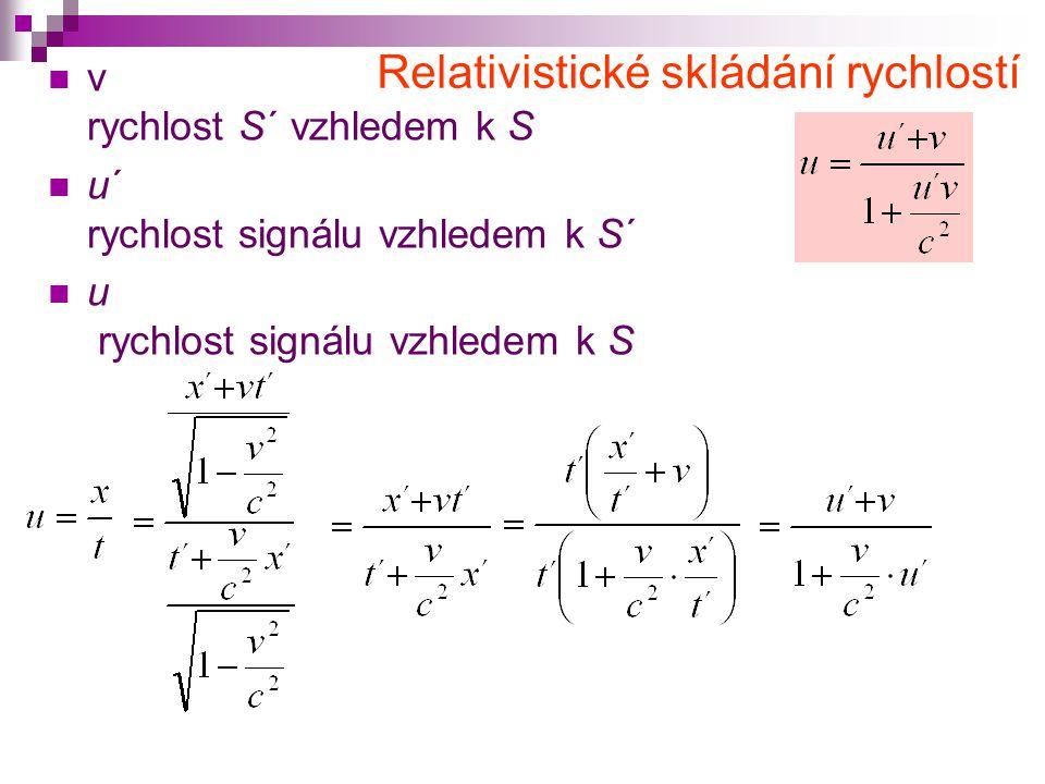  v rychlost S´ vzhledem k S  u´ rychlost signálu vzhledem k S´  u rychlost signálu vzhledem k S Relativistické skládání rychlostí