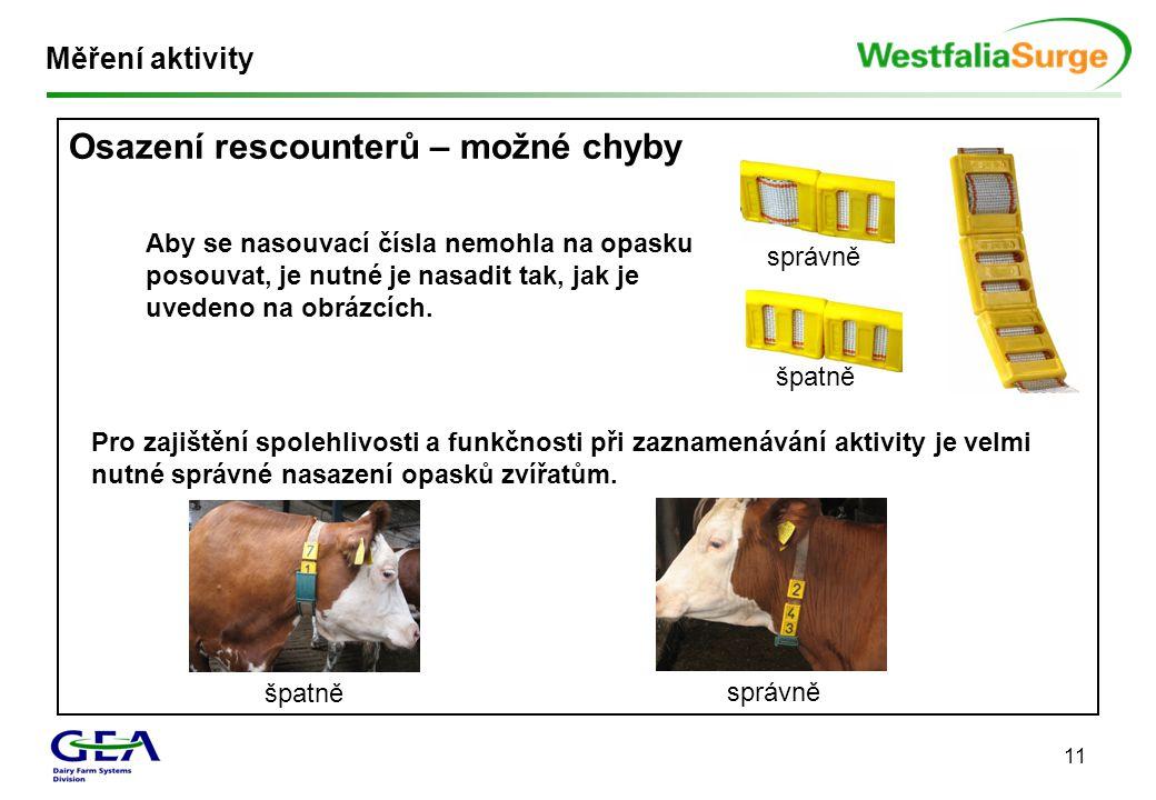 11 Měření aktivity Osazení rescounterů – možné chyby Aby se nasouvací čísla nemohla na opasku posouvat, je nutné je nasadit tak, jak je uvedeno na obr