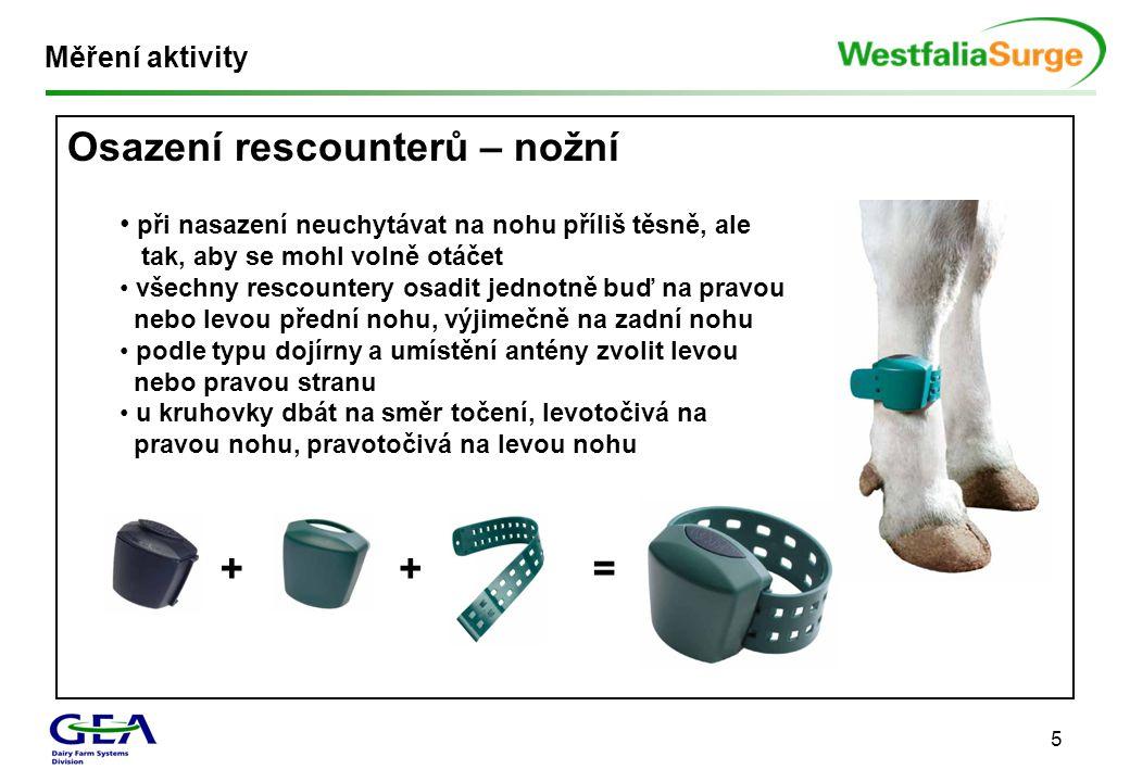 5 Měření aktivity Osazení rescounterů – nožní • při nasazení neuchytávat na nohu příliš těsně, ale tak, aby se mohl volně otáčet • všechny rescountery