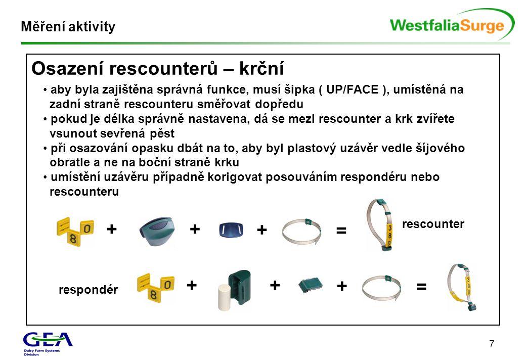 7 Osazení rescounterů – krční Měření aktivity • aby byla zajištěna správná funkce, musí šipka ( UP/FACE ), umístěná na zadní straně rescounteru směřov