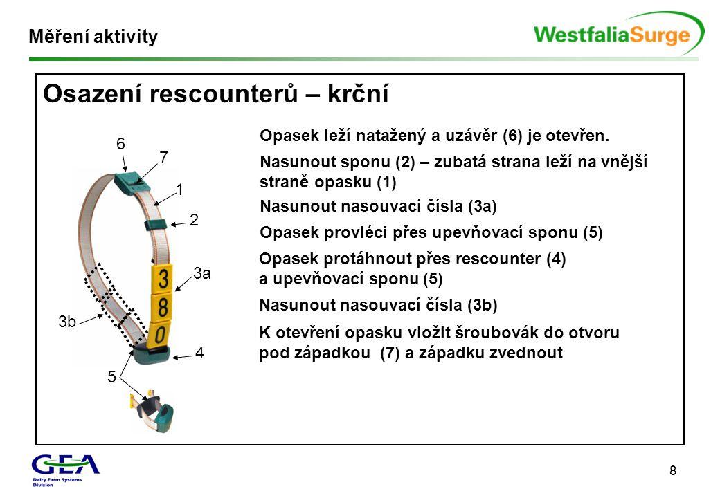 8 Osazení rescounterů – krční Měření aktivity 1 2 3a 4 5 3b 6 7 Opasek leží natažený a uzávěr (6) je otevřen. Nasunout sponu (2) – zubatá strana leží