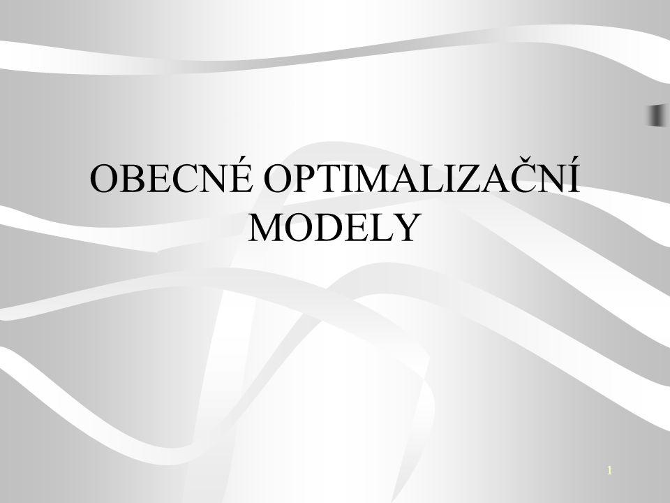 12 Optimalizační úloha Základní prvky optimalizačního modelu proměnné - procesy omezující podmínky kriteriální - účelová funkce Základní pojmy přípustné a nepřípustné řešení optimální řešení