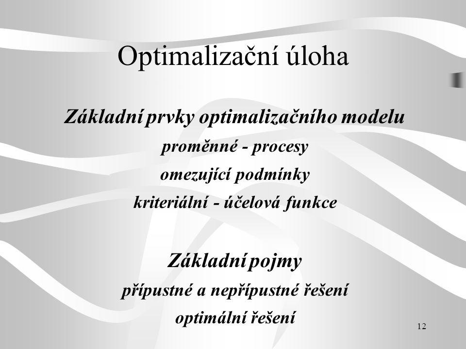 12 Optimalizační úloha Základní prvky optimalizačního modelu proměnné - procesy omezující podmínky kriteriální - účelová funkce Základní pojmy přípust