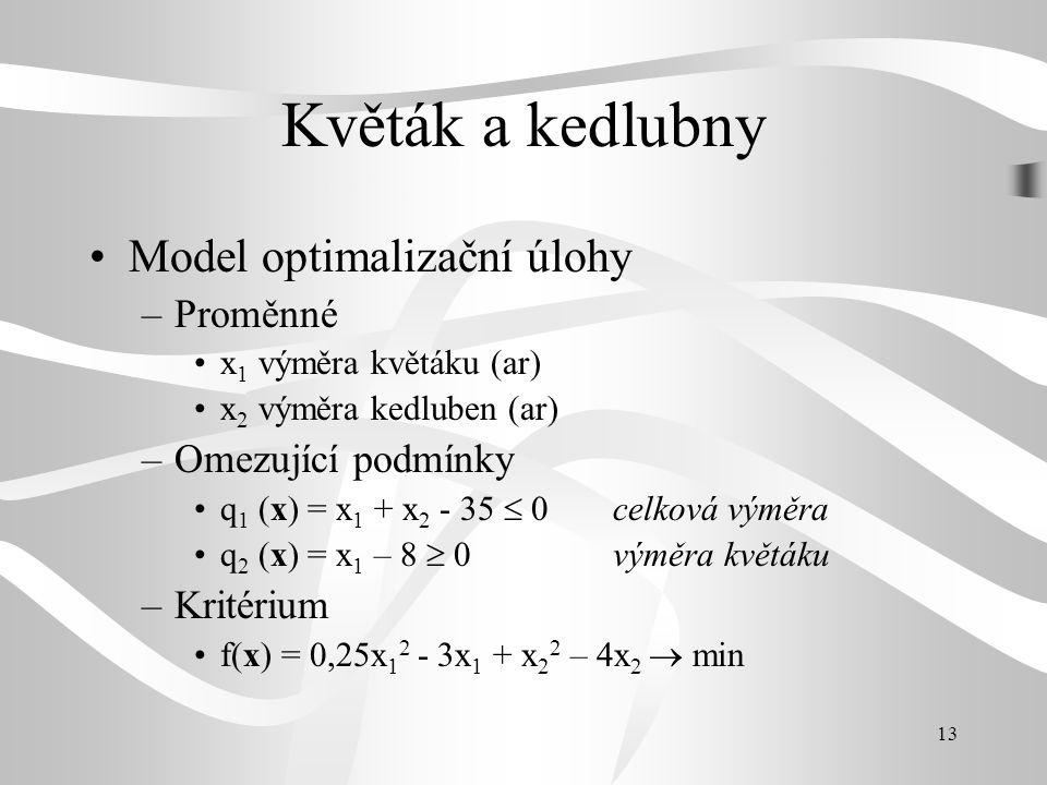13 Květák a kedlubny •Model optimalizační úlohy –Proměnné •x 1 výměra květáku (ar) •x 2 výměra kedluben (ar) –Omezující podmínky •q 1 (x) = x 1 + x 2