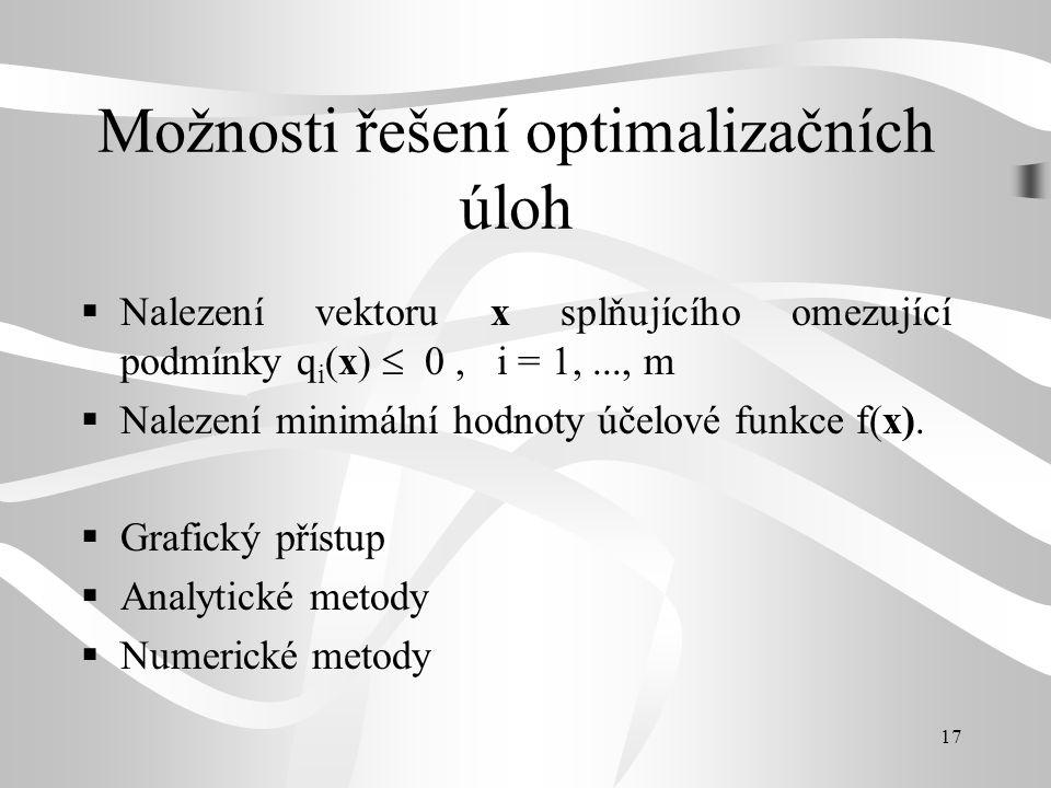 17 Možnosti řešení optimalizačních úloh  Nalezení vektoru x splňujícího omezující podmínky q i (x)  0, i = 1,..., m  Nalezení minimální hodnoty úče