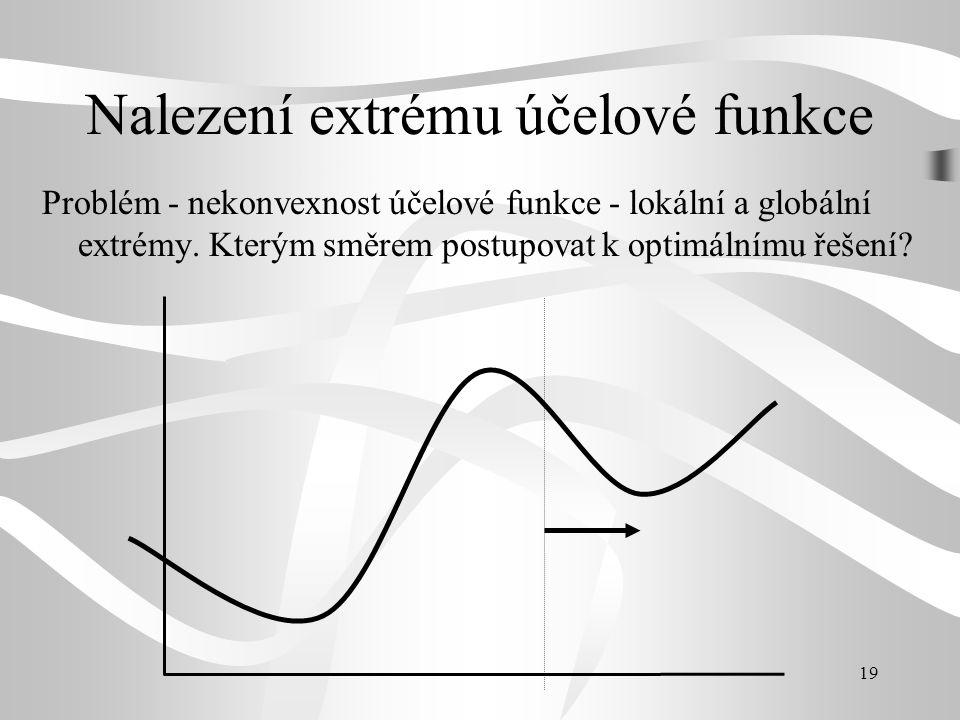 19 Nalezení extrému účelové funkce Problém - nekonvexnost účelové funkce - lokální a globální extrémy. Kterým směrem postupovat k optimálnímu řešení?