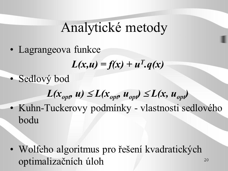 20 Analytické metody •Lagrangeova funkce L(x,u) = f(x) + u T.q(x) •Sedlový bod L(x opt, u)  L(x opt, u opt )  L(x, u opt ) •Kuhn-Tuckerovy podmínky