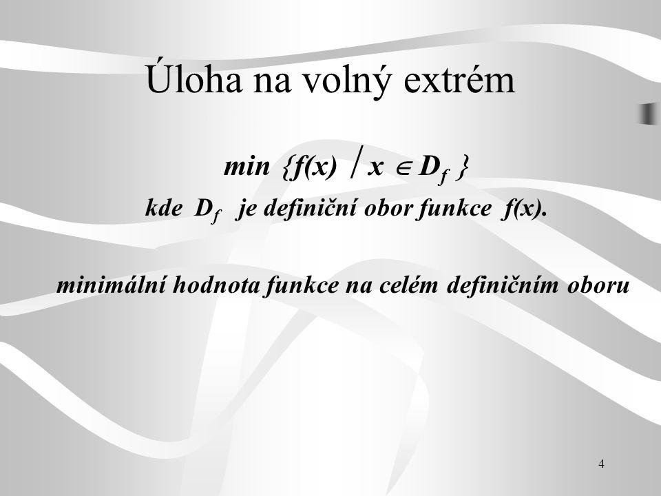 4 Úloha na volný extrém min  f(x)  x  D f  kde D f je definiční obor funkce f(x). minimální hodnota funkce na celém definičním oboru