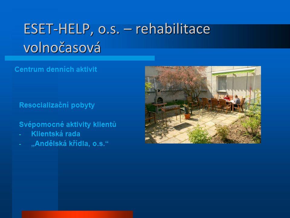 """ESET-HELP, o.s. – rehabilitace volnočasová Centrum denních aktivit Resocializační pobyty Svépomocné aktivity klientů - Klientská rada - """"Andělská kříd"""