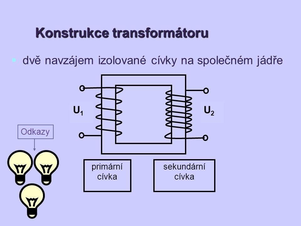 primární cívkou prochází střídavý proud → neustále se mění magnetické pole → v sekundární cívce se indukuje střídavý proud Funkce transformátoru U 1 - primární napětí N 1 - počet závitů primární cívky U 2 - sekundární napětí N 2 - počet závitů sekundární cívky
