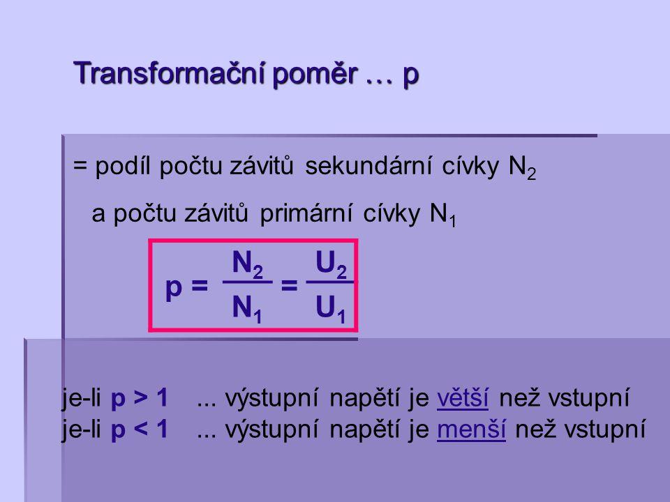 Transformační poměr … p = podíl počtu závitů sekundární cívky N 2 a počtu závitů primární cívky N 1 p = N2N2 = U2U2 N1N1 U1U1 je-li p > 1... výstupní