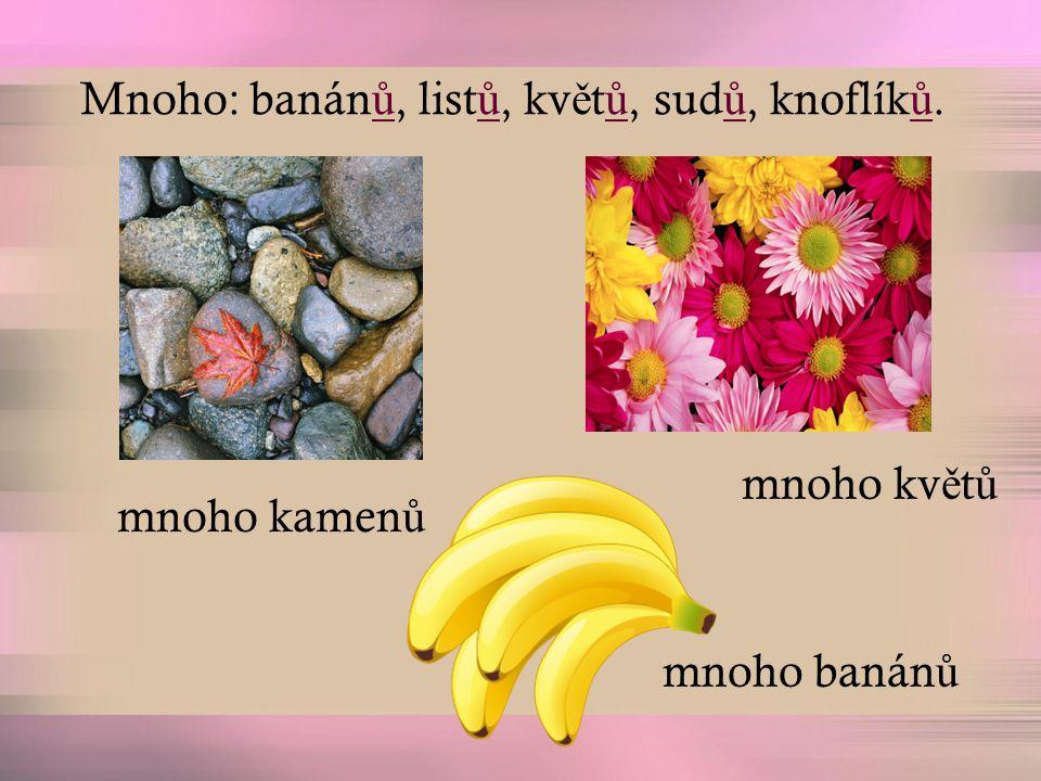 Mnoho: banán ů, list ů, kv ě t ů, sud ů, knoflík ů. mnoho kamen ů mnoho kv ě t ů mnoho banán ů