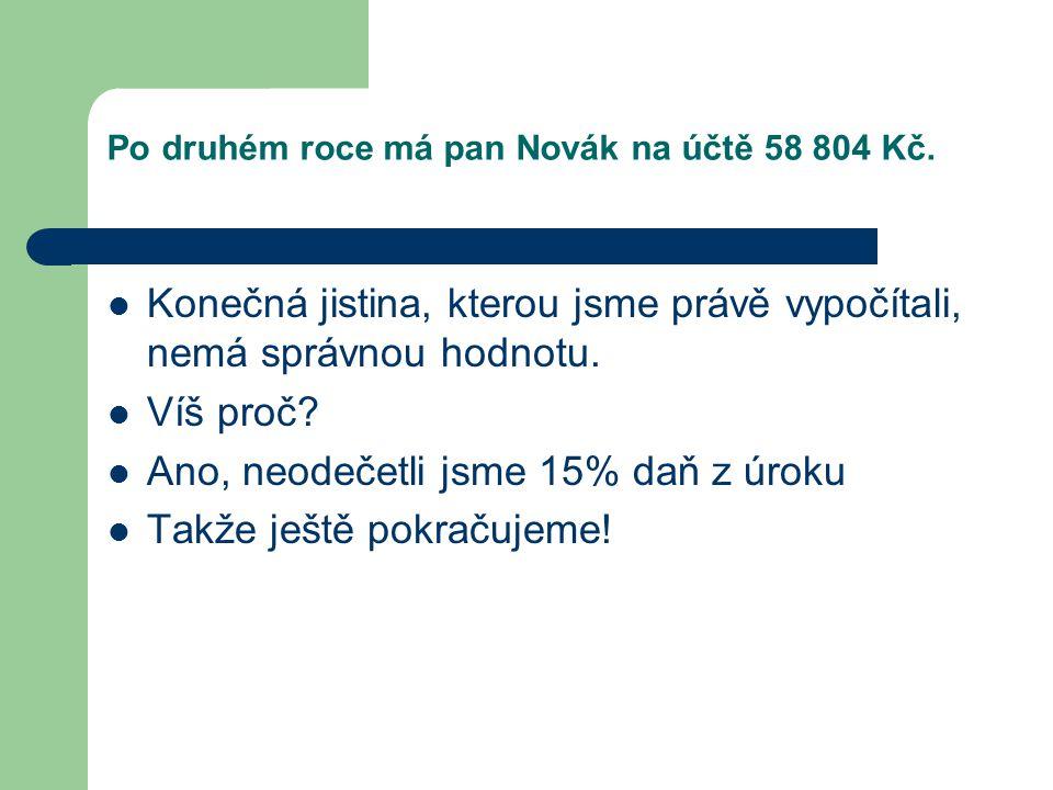 Po druhém roce má pan Novák na účtě 58 804 Kč.  Konečná jistina, kterou jsme právě vypočítali, nemá správnou hodnotu.  Víš proč?  Ano, neodečetli j