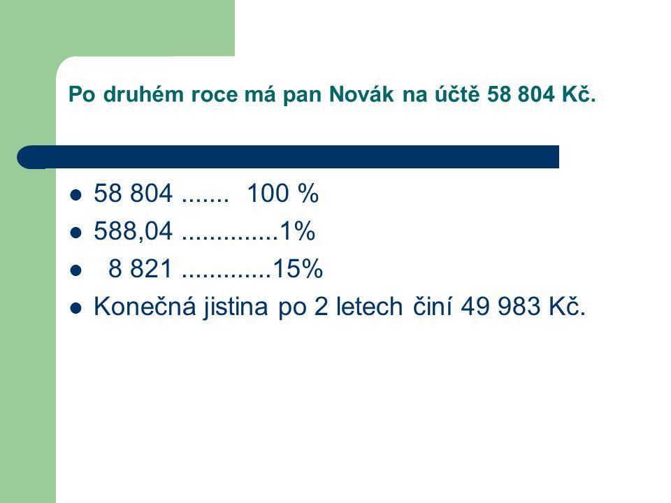 Po druhém roce má pan Novák na účtě 58 804 Kč.  58 804....... 100 %  588,04..............1%  8 821.............15%  Konečná jistina po 2 letech či