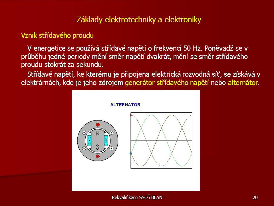 Rekvalifikace SSOŠ BEAN 20 Vznik střídavého proudu V energetice se používá střídavé napětí o frekvenci 50 Hz. Poněvadž se v průběhu jedné periody mění