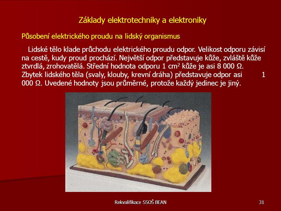Rekvalifikace SSOŠ BEAN 31 Základy elektrotechniky a elektroniky Působení elektrického proudu na lidský organismus Lidské tělo klade průchodu elektric
