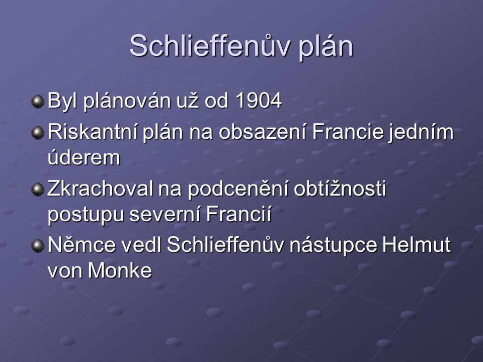 Schlieffenův plán Byl plánován už od 1904 Riskantní plán na obsazení Francie jedním úderem Zkrachoval na podcenění obtížnosti postupu severní Francií