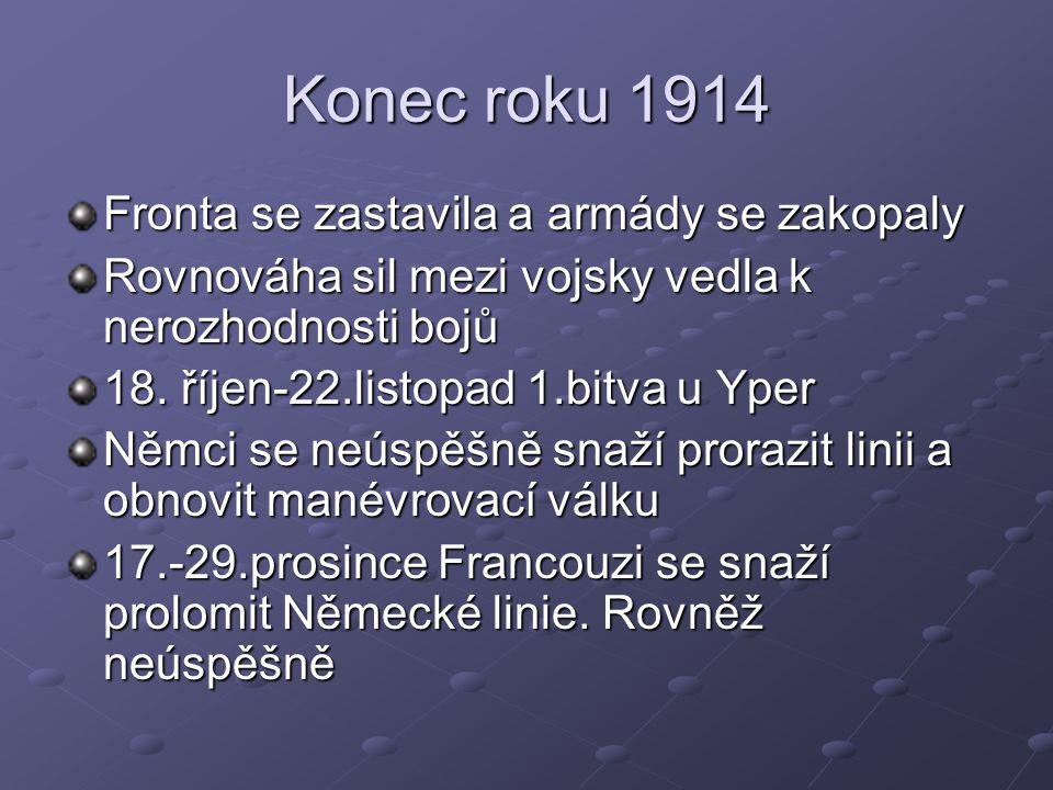 Konec roku 1914 Fronta se zastavila a armády se zakopaly Rovnováha sil mezi vojsky vedla k nerozhodnosti bojů 18. říjen-22.listopad 1.bitva u Yper Něm