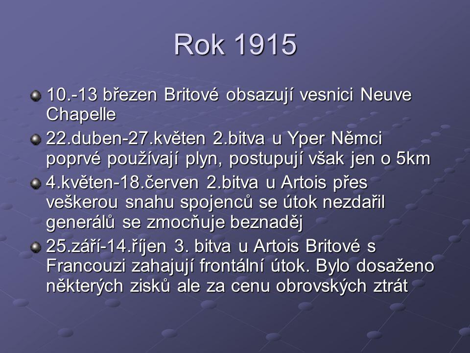 Rok 1915 10.-13 březen Britové obsazují vesnici Neuve Chapelle 22.duben-27.květen 2.bitva u Yper Němci poprvé používají plyn, postupují však jen o 5km