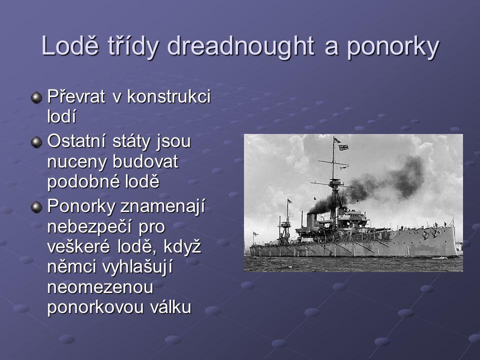 Lodě třídy dreadnought a ponorky Převrat v konstrukci lodí Ostatní státy jsou nuceny budovat podobné lodě Ponorky znamenají nebezpečí pro veškeré lodě