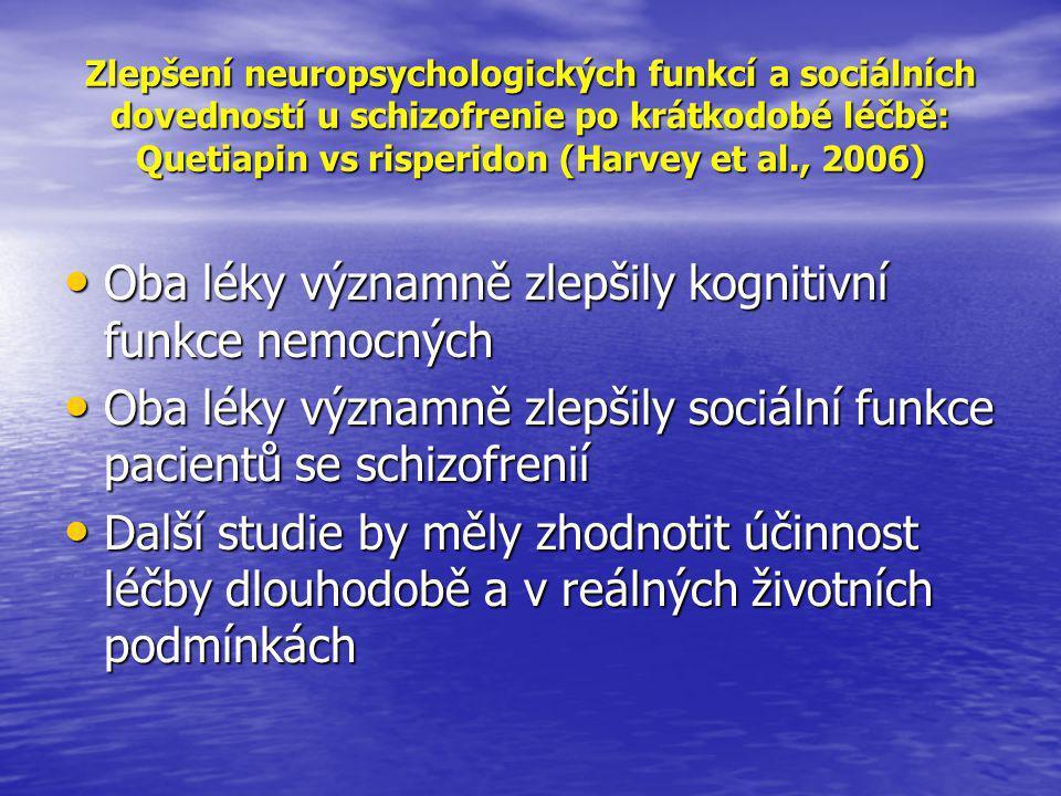 Zlepšení neuropsychologických funkcí a sociálních dovedností u schizofrenie po krátkodobé léčbě: Quetiapin vs risperidon (Harvey et al., 2006) • Oba léky významně zlepšily kognitivní funkce nemocných • Oba léky významně zlepšily sociální funkce pacientů se schizofrenií • Další studie by měly zhodnotit účinnost léčby dlouhodobě a v reálných životních podmínkách