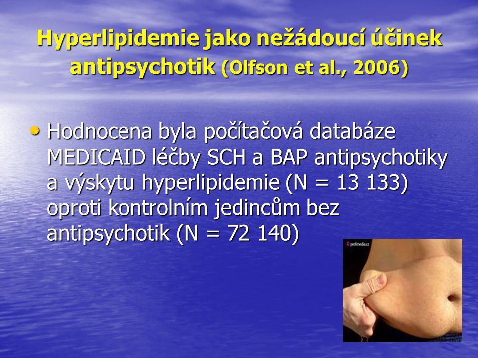 Hyperlipidemie jako nežádoucí účinek antipsychotik (Olfson et al., 2006) • Hodnocena byla počítačová databáze MEDICAID léčby SCH a BAP antipsychotiky a výskytu hyperlipidemie (N = 13 133) oproti kontrolním jedincům bez antipsychotik (N = 72 140)