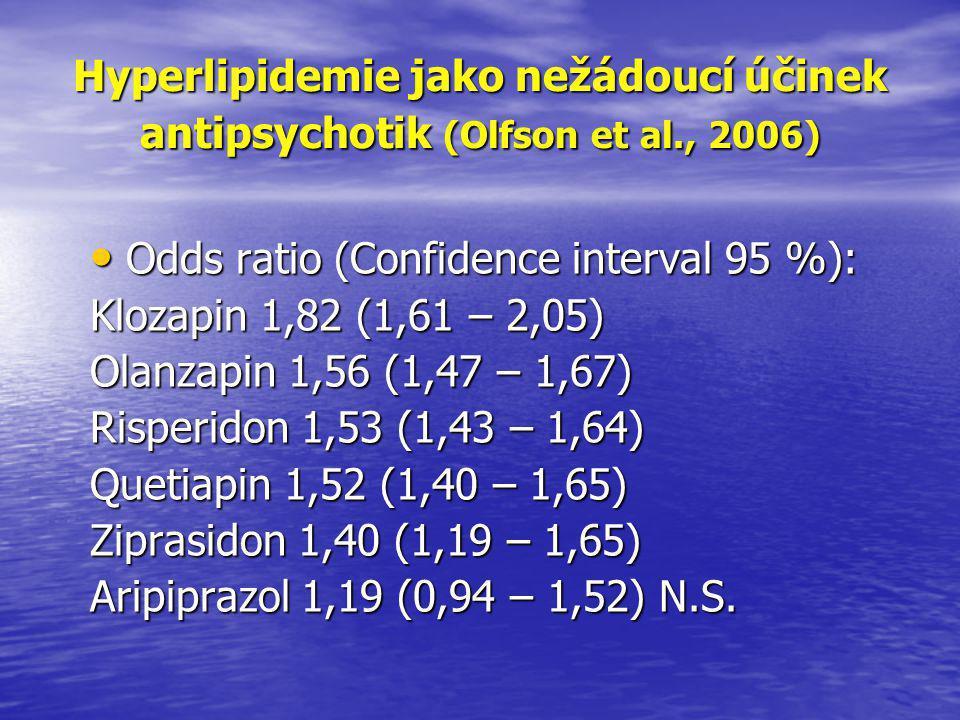 Hyperlipidemie jako nežádoucí účinek antipsychotik (Olfson et al., 2006) • Odds ratio (Confidence interval 95 %): Klozapin 1,82 (1,61 – 2,05) Olanzapin 1,56 (1,47 – 1,67) Risperidon 1,53 (1,43 – 1,64) Quetiapin 1,52 (1,40 – 1,65) Ziprasidon 1,40 (1,19 – 1,65) Aripiprazol 1,19 (0,94 – 1,52) N.S.