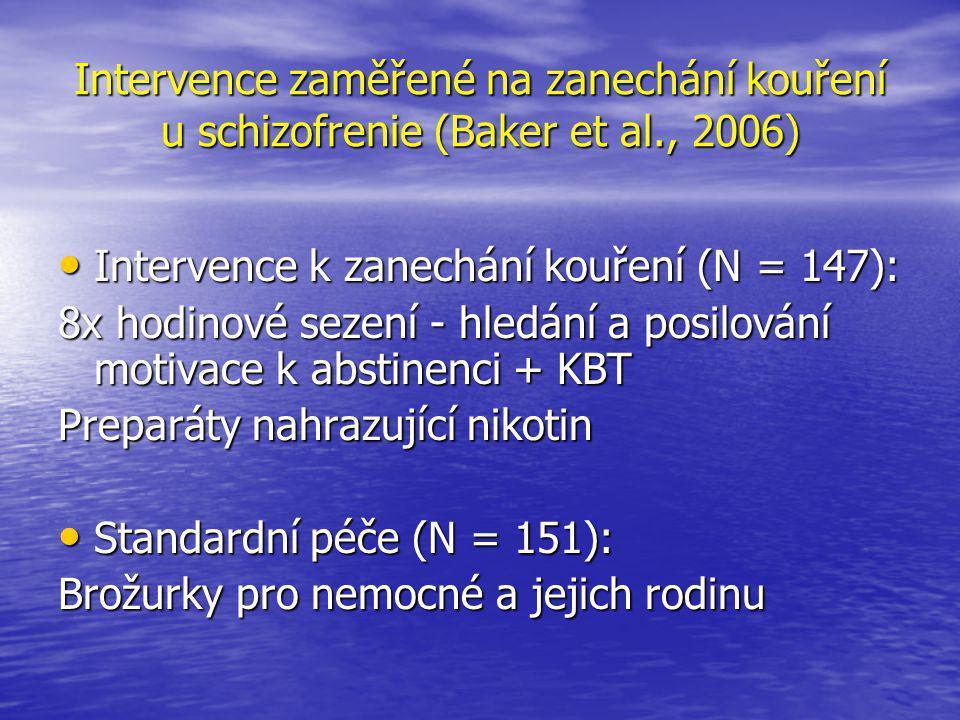 Intervence zaměřené na zanechání kouření u schizofrenie (Baker et al., 2006) • Intervence k zanechání kouření (N = 147): 8x hodinové sezení - hledání a posilování motivace k abstinenci + KBT Preparáty nahrazující nikotin • Standardní péče (N = 151): Brožurky pro nemocné a jejich rodinu