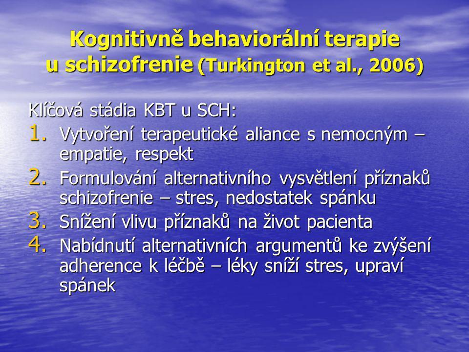 Kognitivně behaviorální terapie u schizofrenie (Turkington et al., 2006) Klíčová stádia KBT u SCH: 1.