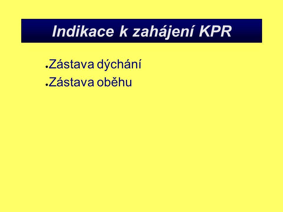 Indikace k zahájení KPR ● Zástava dýchání ● Zástava oběhu