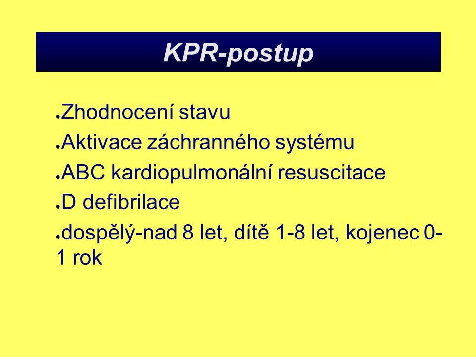 KPR-postup ● Zhodnocení stavu ● Aktivace záchranného systému ● ABC kardiopulmonální resuscitace ● D defibrilace ● dospělý-nad 8 let, dítě 1-8 let, kojenec 0- 1 rok
