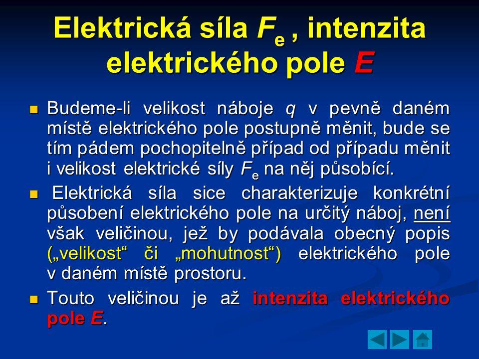 Elektrická síla F e, intenzita elektrického pole E  Budeme-li velikost náboje q v pevně daném místě elektrického pole postupně měnit, bude se tím pádem pochopitelně případ od případu měnit i velikost elektrické síly F e na něj působící.