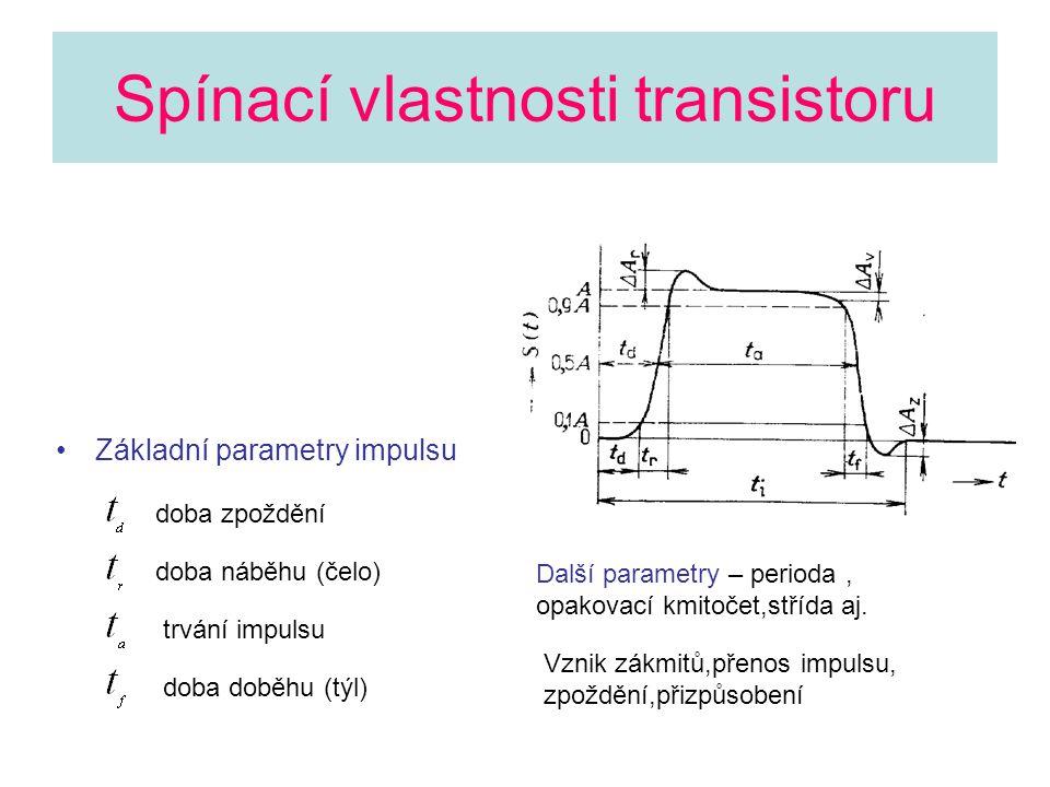 Spínací vlastnosti transistoru •Základní parametry impulsu doba zpoždění doba náběhu (čelo) trvání impulsu doba doběhu (týl) Další parametry – perioda